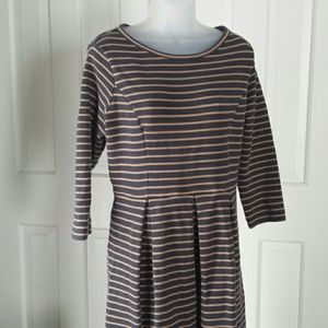 Boden navy and tan heavy cotton blend dress